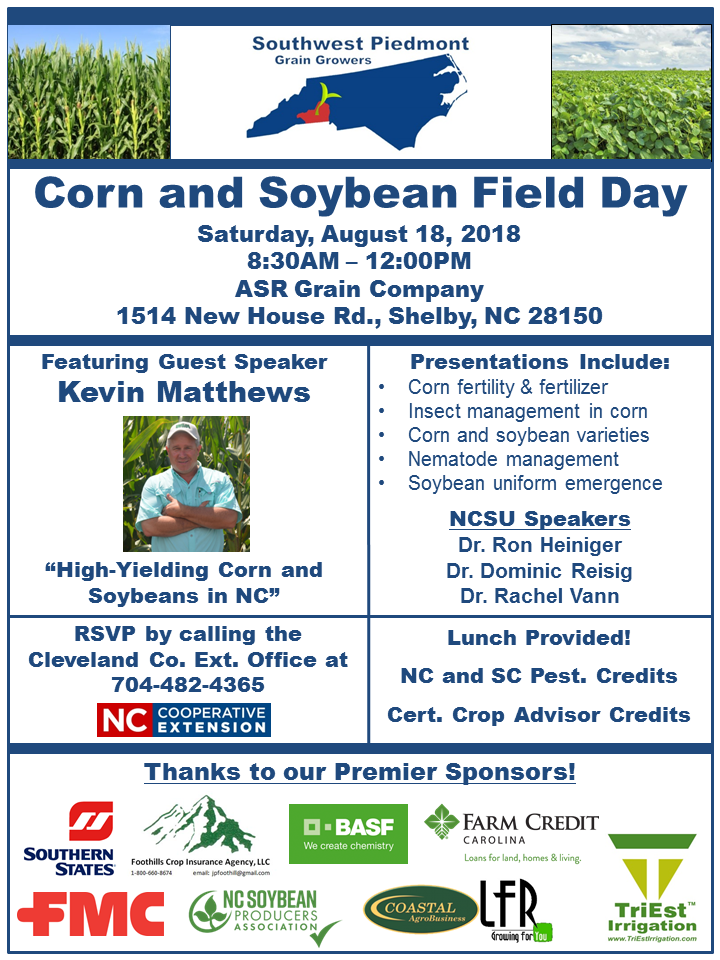 2nd Annual Southwest Piedmont Corn and Soybean Field Day poster