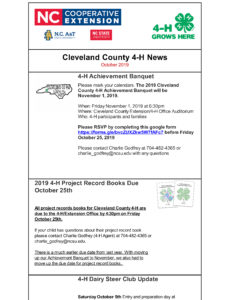 Cover photo for Cleveland County 4-H Newsletter October, 2019
