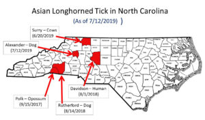 map of Current distribution of Asian Longhorned Tick in North Carolina