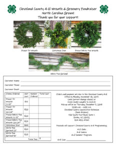 Cover photo for Cleveland County 4-H Holiday Wreath and Garland Fundraiser