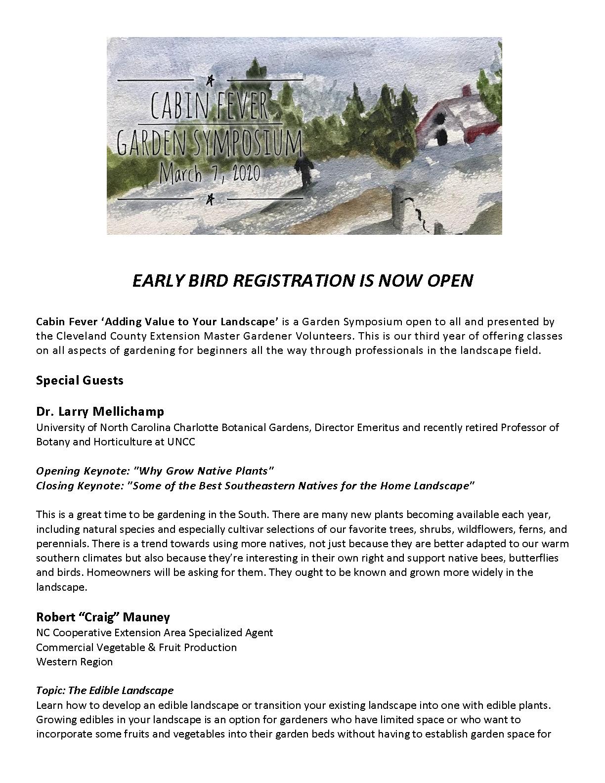 Cabin Fever Garden Symposium flyer