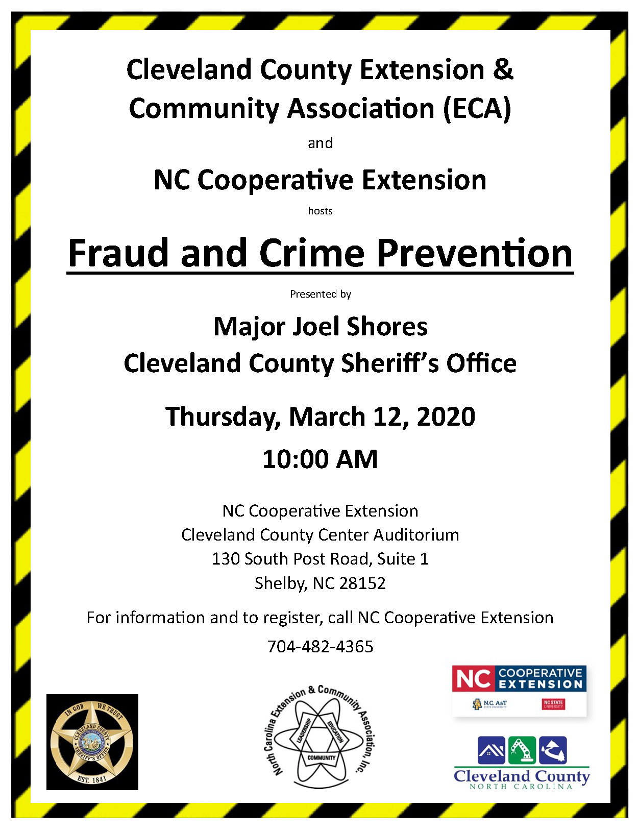 Crime and Fraud Prevention flyer