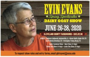 Cover photo for Evin Evans Spring Spectacular Dairy Goat Show June 26-28, 2020
