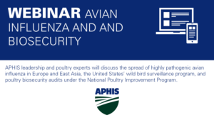 dark blue banner with devices icon and text Webinar Avian Influenza and Biosecurity